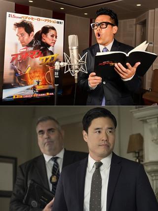 アフレコ中の宮川(上)と声優を 務めるキャラクター「ウー捜査官」「アントマン&ワスプ」
