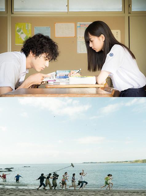 本編の一場面(上)と海のシーンの 撮影を捉えたメイキング画像