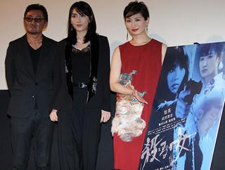 (左から)宮野ケイジ監督、知英、武田梨奈「殺る女」