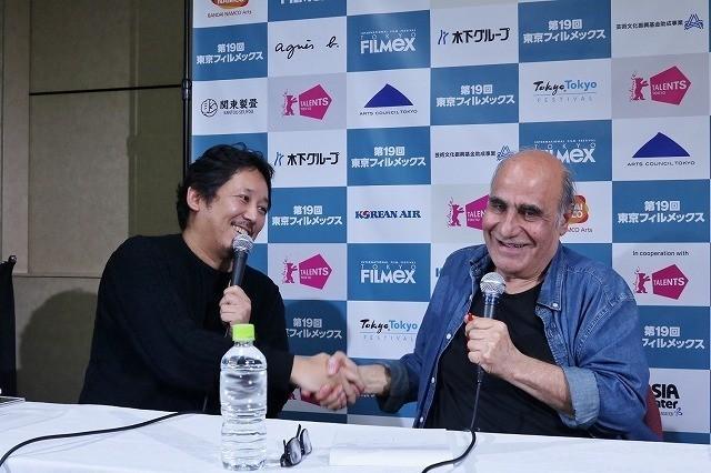トークイベントを行った入江悠監督、 アミール・ナデリ監督