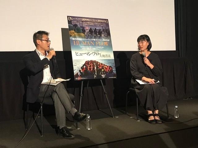フォトジャーナリストの安田菜津紀氏(右) と森美術館キュレーターの近藤健一氏