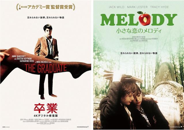 「卒業 4Kデジタル修復版」と「小さな恋のメロディ」ポスター