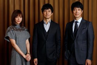 インタビューに応じた西島秀俊、 佐々木蔵之介、本田翼「空母いぶき」
