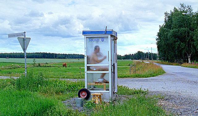 公衆電話ボックス型サウナ