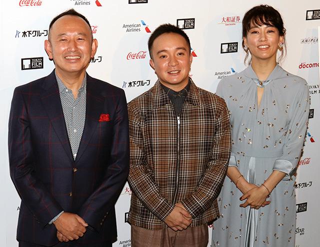 会見した(左から)足立紳監督、 濱田岳、水川あさみ