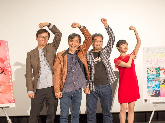 司会の氷川竜介、中島かずき、 今石洋之監督、佐倉綾音(左から)