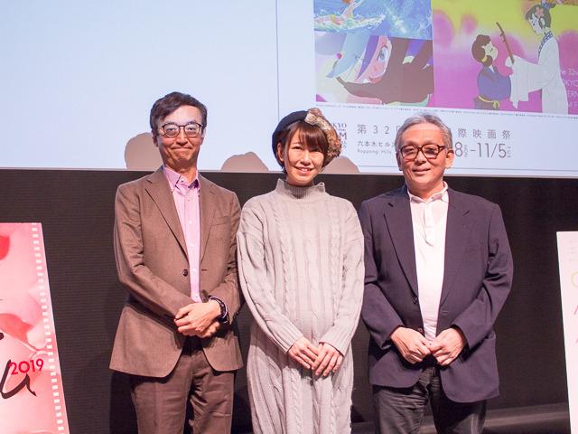 第2部では「エヴァ」トークも弾んだ (左から)氷川竜介、稲垣早希、原口正宏
