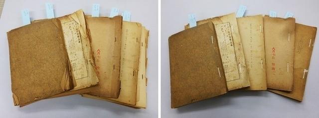 脚本の修復前(左)と修復後 シワやめくれが直り、綺麗に閉じられている
