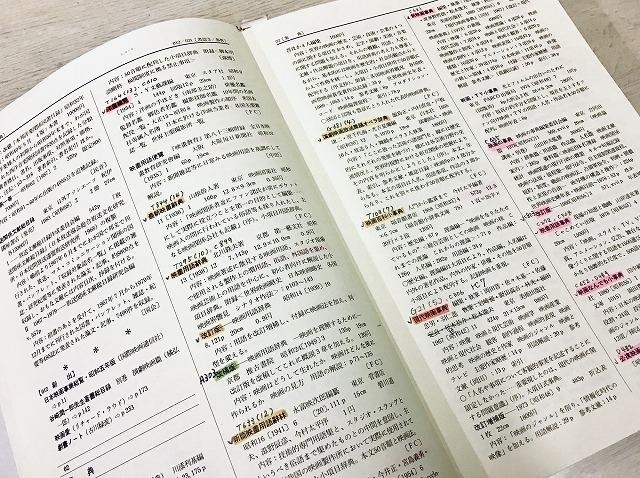 笹沼さんが使用してきた「事典 映画の図書」。所蔵図書に印をつけるなど、細かく書き込みがされている