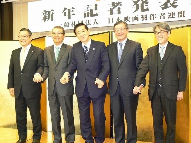 左から迫本社長、島谷社長、岡田映連会長、多田社長、井上副社長
