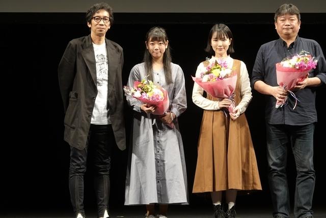 行定勲監督と舞台挨拶に立った藤谷理子、小川紗良、本広克行監督(左から)