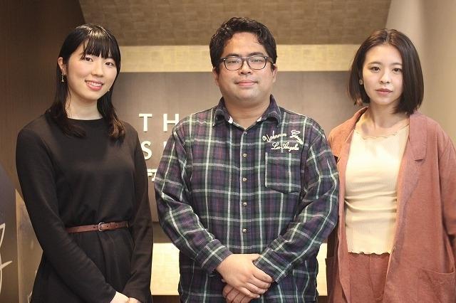 インタビューに応じた芳賀俊監督(中央)、村田唯(右)、笠松七海(左)