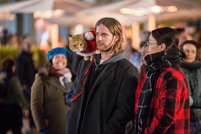 """""""奇跡の猫""""ボブがサンタコスチュームでハイタッチ!「ボブという名の猫」続編、邦題決定&特報完成"""