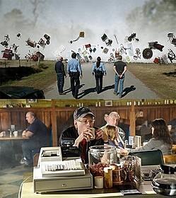 (上)「アンダー・ザ・ドーム」の一場面 (下)シーズン2第1話に出演したスティーブン・キング