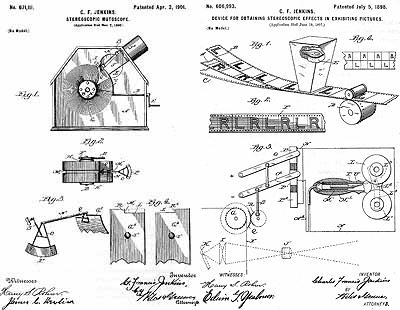 【図4】ジェンキンスの 「ステレオスコピック・ミュートスコープ」(1901・左) と元祖アクティブ・ステレオ(1898)