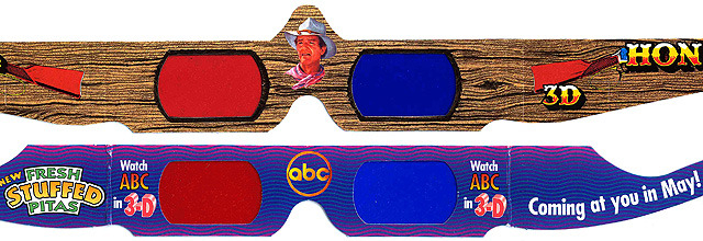 【図1】映画「ホンドー」(上)とABC 3Dウイーク(下)のアナグリフ放送用メガネ