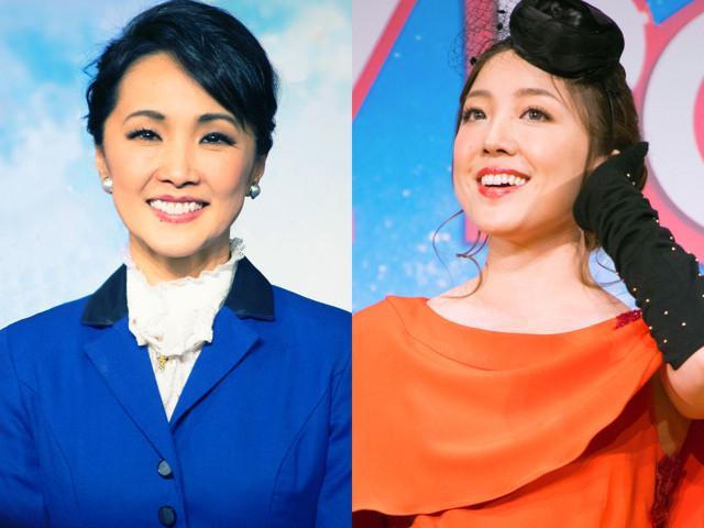 メリー・ポピンズに扮する濱田めぐみ(左)と平原綾香(右)
