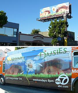 ファンタジックな色調の「Pushing Daisies」は街中でも広告が人目を惹く