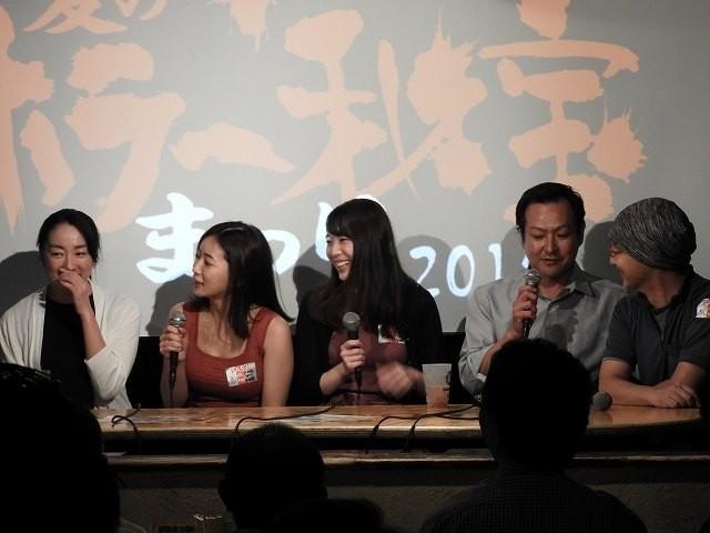 「残ゾビ」の森田亜紀さん、階戸瑠李さん、円谷優希さん、重松隆志さん、森川圭監督(左から)