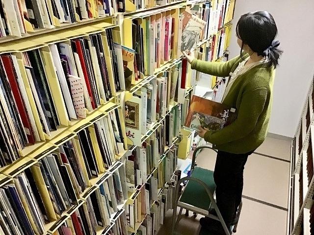 図書室 書庫のパンフレット棚で作業をする司書の笹沼さん