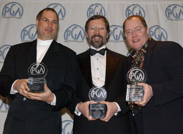 PGA賞授賞式の一コマ。左からスティーブ・ジョブズ、エド・キャットムル、ジョン・ラセター