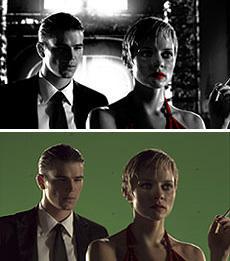 ジョシュ・ハートネットが登場する オープニングシーン(上)とその撮影風景(下)