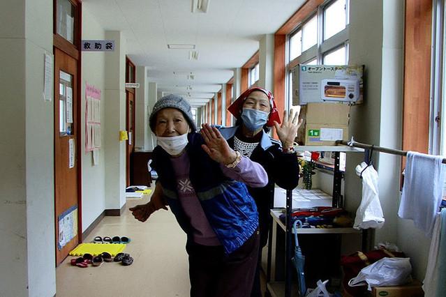 石巻市立湊小学校避難所