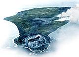 硫黄島の全体像 写真下部の山が擂鉢山