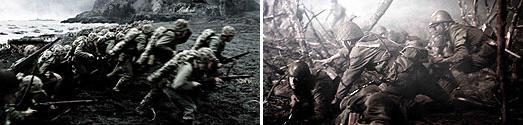 左:上陸するアメリカ兵(「父親たちの星条旗」より) 右:迎え撃つ日本軍(「硫黄島からの手紙」より)