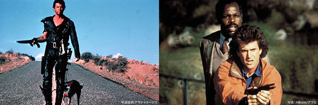 (左)「マッドマックス2」、(右)「リーサル・ウェポン」の一場面