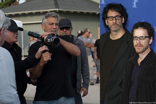 コーエン兄弟(右)が99年に書いた脚本に、クルーニー監督(左)が実話要素を注入した