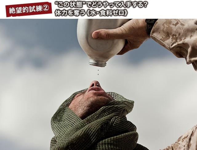 どんどん消費されていく水と食料、水筒から垂れる最後の一滴まで無駄にできない