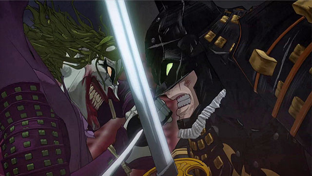 バットマン(右)と宿敵ジョーカー(左)の壮絶な戦いが、戦国を舞台に繰り広げられる