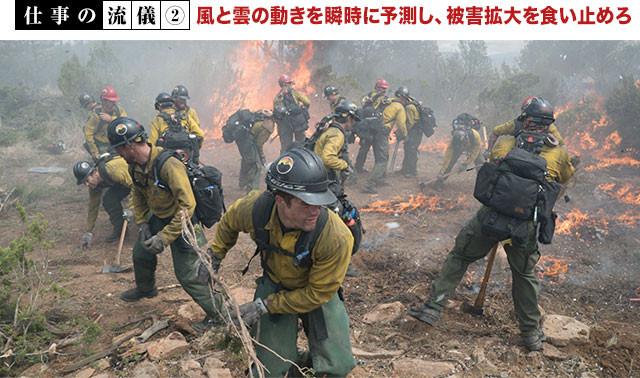 隊長が火の進路を読み取ったら、号令とともに隊員たちが一気に動き出す!