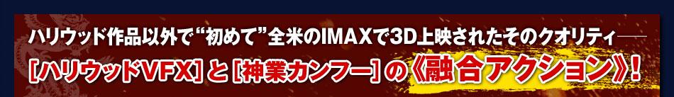 """ハリウッド作品以外で""""初めて""""全米のIMAXで3D上映されたそのクオリティ──[ハリウッドVFX]と[神業カンフー]の《融合アクション》!"""